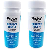 Perfect Test 4 Swimming Pool and Spa Test Strips for Chlorine or Bromine 2 x 50 - Spa, Hot Tub and Swimming Pool Testing - 4 in 1
