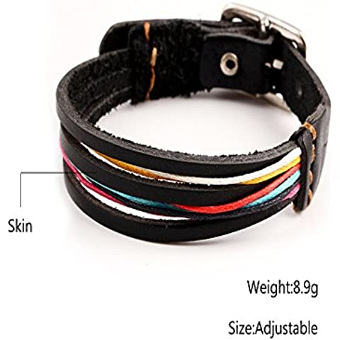 MR Conejo estilo vintage multicolor Dazzle color cuero Wrap Pulsera
