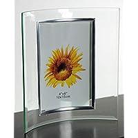 Idea bomboniere: Cornice Portafoto curva in vetro cm 13*18; set di 6 pezzi; ideale per matrimonio, comunione, cresima