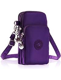 Multifunctional 3 Layers Storage Zipper Waterproof Nylon Crossbody Wrist Shoulder Bag Mini Phone Pouch Handbag...