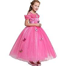 AGOGO Prinzessin Kostüm Kleid für Mädchen Schmetterling fancy Kleid Karneval Kostüm Partei cosplay faschingskostüm festkleid Weihnachten Halloween Party Kleid 104 116 128 140 152