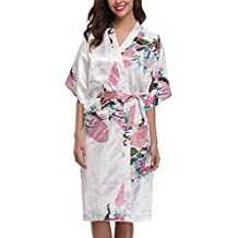 Uniquestyle Kimono Mujer Bata Corto sexy y elegante con Pavo & Flores Pijamas Albornozes Camison mujer