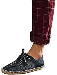 YOUJIA Hombre Casual Canvas Plano Alpargatas Respirable Slip-On Moccasins