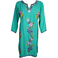 Womans Aasha Tunic Kurta Dress Silk Fine Hand Embroidered Dresses Side Slit