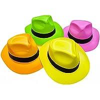 Novelty Place [Estrellas de la Fiesta Fieltro Neón Sombreros de Plástico para Fiestas - Estilo Gánster y Brillo de Luz Negra UV - para Niños y Adultos (Paquete de 12)