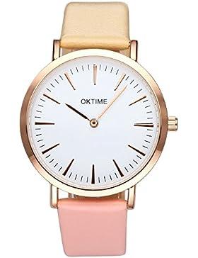 JSDDE Uhren,Fashion Cute Candy Farbe Damen Armbanduhr Braun-Pink Farbverlauf Kleid Uhr PU Lederband Analog Quarz...