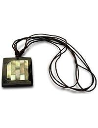 Halskette, Perlmutt Mosaik Holz schwarz, Handarbeit