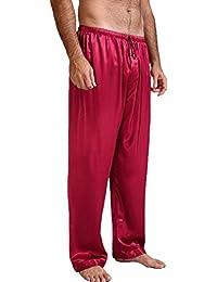Hombre Pantalones de Pijama - Suave y Cómodo Cintura Elástica Pantalones  Largos con Cordón Ropa de 61e81022a8e6