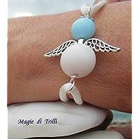 Magie di Trilli: Braccialetto artigianale bambina con angelo custode realizzato con perle azzurra e bianca, filo satinato bianco - Idea regalo Prima Comunione - Pasqua