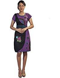 Robe manches courtes pour femme multicolore Floral Patch Print & Embroidery