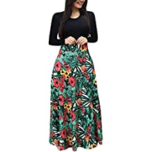 Bluestercool - Vestido largo para mujer, de manga larga, estilo bohemio con estampado floral y manga larga