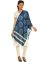 Indo Mood   Bagru Hand Block Printed Indigo Blue Hand Woven Pure Linen Style 3 Stole