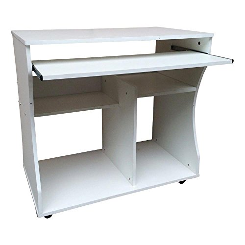 tinkertonk Modern Space Saver Computer Desk PC Table Wheels Home Office Furniture White