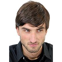 Peluca masculina, para hombres, bisoñé, cardado, juvenil, moderno, marrón GFW994-6