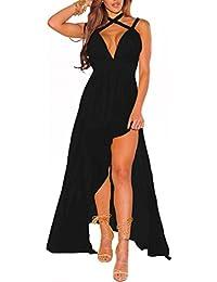 d6ed2a5b3aebf Abito lungo donna vestito svasato cerimonia scollo v spacco sexy elegante