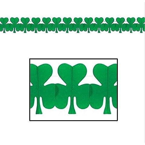 Life Glow Parte de la decoración de la decoración del día 1.1Feet Tréboles colgantes reutilizable verde de tres hojas del trébol de las hojas de papel del tejido Garland Garland Flores St. Patrick / 3.6M juego de 6 (verde)