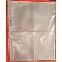 Hojas transparentes para archivar fotos, A4, con agujeros para anillas, 4 bolsillos por página (10 unidades)