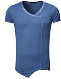 Tazzio - Tee shirt bleu fashion T-shirt TZ122 indigo - Bleu