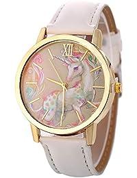 Gysad Reloj de Pulsera Patrón de Unicornio Reloj de Pulsera Mujer Ajustable Reloj de Pulsera niña