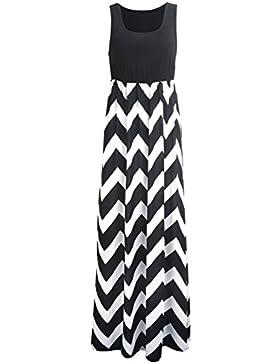 Sommerkleid Damen Partykleid Lang Chiffon High Waist Striped Sleeveless Beach Kleid Elegant - Très Chic Mailanda