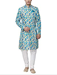 Svanik Blue Blended Printed Sherwani