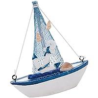 Sharplace Mediterráneo Mini Modelo de Réplica de Barco Estilo Náutico Ornamento Decorativo de Mesa de Casa Oficina - # 6