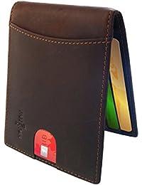 FreeHaveFun Leder RFID Schutz Geldklammer für Damen und Herren | NFC Slim Wallet Geldbörse | dünne Brieftasche | Portemonnaie m. Kreditkartenetui | Blocker Geldbeutel | Kreditkartenhalter Portmonee