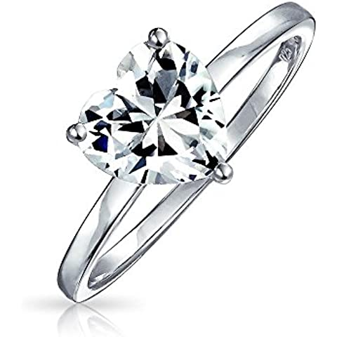 Bling Jewelry Sterling Silver Heart Shaped CZ Solitaire Anello di fidanzamento