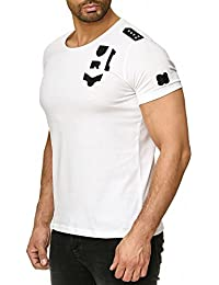 Redbridge Herren T-Shirt Casual Kurzarm Army mit Nieten Stretch Freizeit  Shirt b89885537a