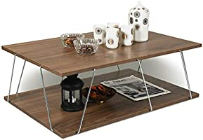 Home Canvas ]Made In Turkey Tars Modern Coffee Table for Living Room, Easy Assembly - Walnut and Chrome