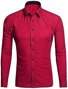 BOZEVON Hombre Camisas Moda Manga Larga Men Fashion Slim Fit Casual Long SleevesShirts (Blanco,Negro,Rojo,Rosa...