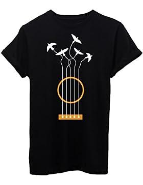 T-Shirt CHITARRA LIBERTÀ UCCELLI WOODSTOCK - MUSICA - by iMage