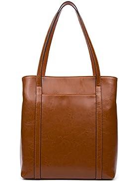 BOSTANTEN Damen Ledertasche Handtasche Schultertasche Tote Bag Reißverschlussdekoration