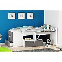 Funktionsbett 90*200 cm weiß / grau inkl Schreibtisch + Kommode Kinderbett Jugendbett Jugendliege Bettliege Bettgestell Bett Jugendzimmer Kind preisvergleich bei kinderzimmerdekopreise.eu