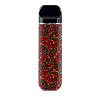 ملصق IT'S A SKIN من الفينيل لغلاف Smok Novo Pod System Vape / وشم الورود الذهبية الحمراء