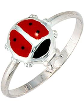 JOBO Kinder-Ring Marienkäfer 925 Sterling Silber rot-schwarze Lackeinlage