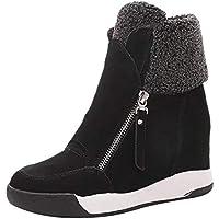 Logobeing Botas Mujer Invierno/Botas de Mujer Casual Zapatos de Muffin con Cuñas Cordones Botas Zapatillas de Deporte Botines Mujer Tacon Calientes Martin Boots Nieve Plataforma