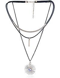 Waama Jewels Triple Black & White Brass Strand Long Chain Choker Necklace For Women & Girls