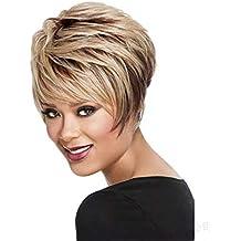 Parrucche Corte Per Le Donne - Parrucche Sintetiche Bionde Con Frangia  Naturale Parrucca Piena Moda Per 5668b0621bd2