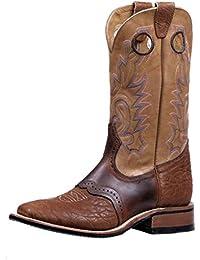 Botas americanas–Botas cowboy bo-5166-c (pie normal)–Mujer–Piel–Rosa/Marrón