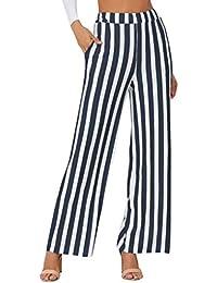Pantalons Rayure Taille Haute Femme Pantalons Office à la Cheville Evasé  Décontracté Amincissant ... 3b367428108