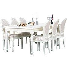 Essgruppe BAROCK Esstisch Sitzgruppe Tischgruppe Erweiterbar Massiv Weiß
