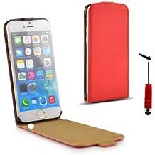 """Funda de piel sintética con tapa para iPhone 6-Funda para iPhone 6 4,7 """", protector de pantalla y lápiz capacitivo, color rojo"""