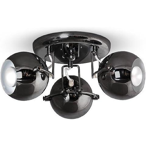 MiniSun - Moderno plafón para el techo de 3 luces globo en cromo negro