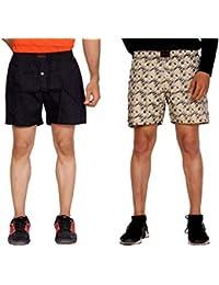 Flamboyant Yellow Dot Print Cotton Shorts Cream Blue Color Print Cotton Shorts For Men (Set Of 2)