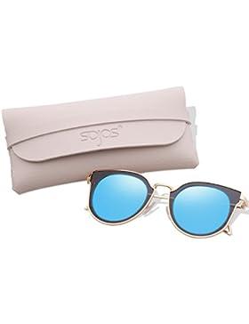 SOJOS Gafas De Sol Unisex Vintage Lentes Espejo Polarizadas Protecciòn UV SJ1057