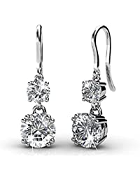 Yellow Chimes Crystals from Swarovski Drop Down Platinum Plated Crystal Earrings for Women and Girls