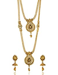 Reeti Fashions - Multicolour Stone Studded 2 Layer Necklace Set For Women (RF17_10C_66)