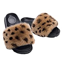 HONGTEYA Summer Real Fur Slides Slippers - Comfort Fuzzy Sandals Shoes for Women and Toddler Girls Indoors Outdoors Fluffy Flip Flops (7 M US Adult, Leopard)