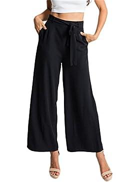 Minetom Mujeres Verano Casual Trousers Ancho Pierna Palazzo Pantalones Holgados Flojos Suave Pantalón Yoga Deportivos...